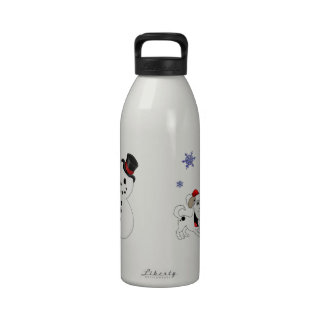 Christmas Snowman with Snowflakes Water Bottle