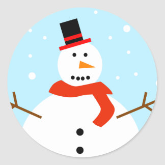 Christmas Snowman Wrapping Paper Round Stickers