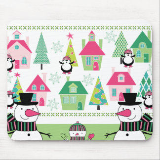 Christmas Snowmen and Village Mouse Pad