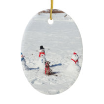 Christmas Snowmen Ceramic Ornament