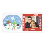 Christmas Snowmen Couples Photo Card