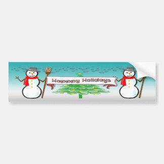 Christmas - Snowmen, Happy Holidays Bumper Sticker