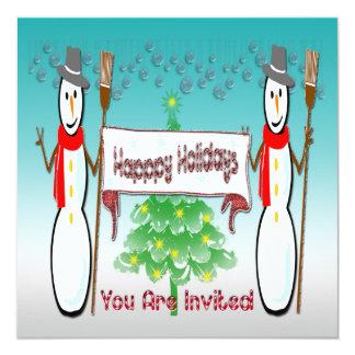 Christmas - Snowmen, Happy Holidays Invitation