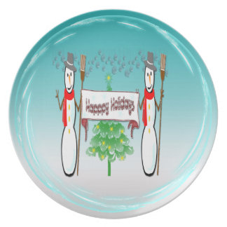 Christmas - Snowmen, Happy Holidays Plate