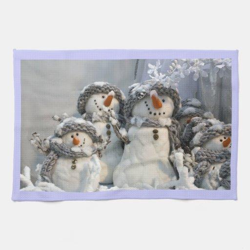 Christmas snowmen kitchen towel