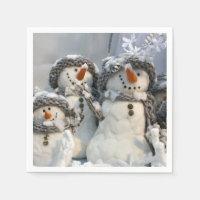 Christmas snowmen paper napkins