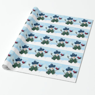 Christmas Snowmen With Cowboy Hat Wrapping Paper