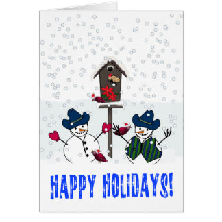 Christmas Snowmen with Cowboy Hats Greeting Card