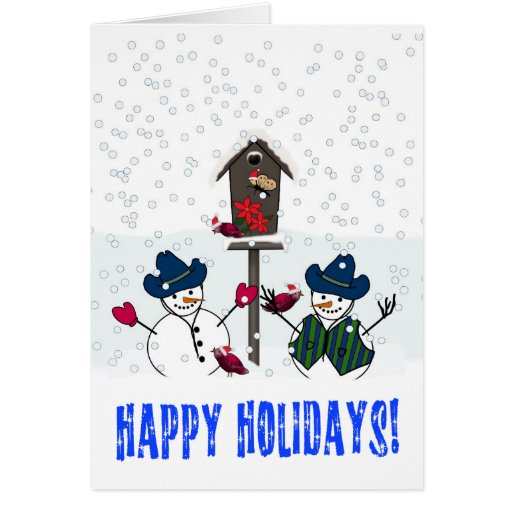 Christmas Snowmen with Cowboy Hats Card