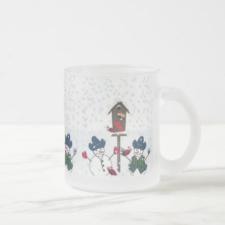 Christmas Snowmen with Cowboy Hats Frosted Glass Coffee Mug