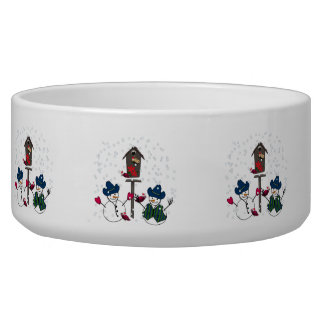 Christmas Snowmen with Cowboy Hats Pet Water Bowl