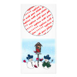 Christmas Snowmen with Cowboy Hats Customized Photo Card