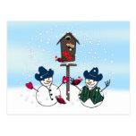 Christmas Snowmen with Cowboy Hats Postcard