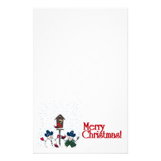 Christmas Snowmen with Cowboy Hats Stationery