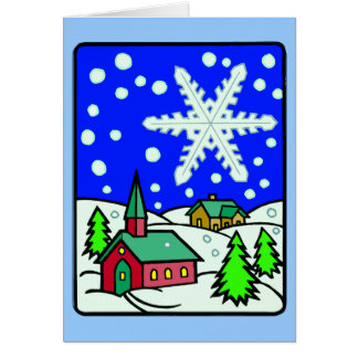 Christmas Snowy Church Scene Greeting Card