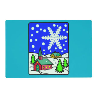 Christmas Snowy Church Scene Placemat