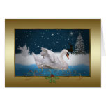 Christmas, Snowy Night With A Swan On A Lake Card at Zazzle
