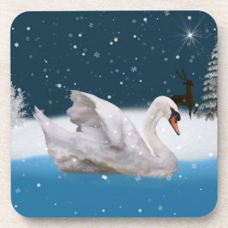 Christmas, Snowy Night with A Swan on a Lake Drink Coasters
