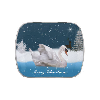 Christmas, Snowy Night with A Swan on a Lake Jelly Belly Tins