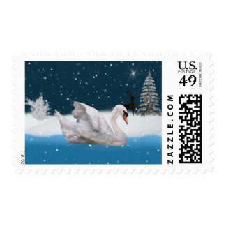 Christmas, Snowy Night with A Swan on a Lake Postage Stamp