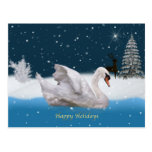 Christmas, Snowy Night with A Swan on a Lake Post Cards