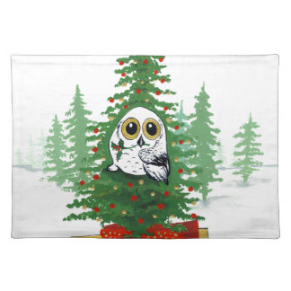 Christmas Snowy Owl Cloth Placemat