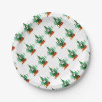 Christmas Snowy Owl Paper Plate