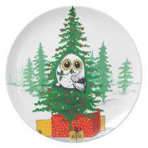 Christmas Snowy Owl Plate