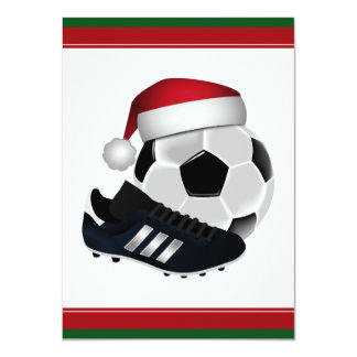 Christmas Soccer Ball and Shoe 4.5x6.25 Paper Invitation Card