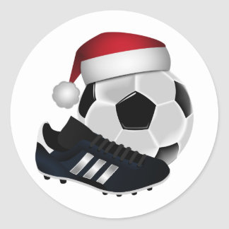 Christmas Soccer Ball and Shoe Classic Round Sticker