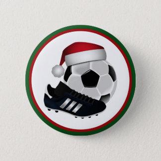 Christmas Soccer Ball and Shoe Pinback Button