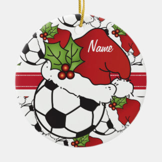 Christmas Soccer Ball | Personalize Ceramic Ornament