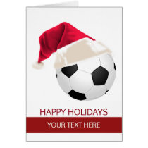 Christmas Soccer Ball Santa Hat Greeting Cards