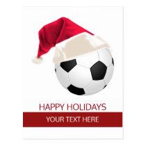 Christmas Soccer Ball Santa Hat postCards