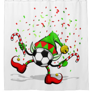 Christmas Soccer Dancing Elf Shower Curtain