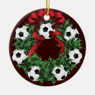 Christmas Soccer or Football Wreath Ceramic Ornament