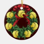 Christmas Softball Wreath Double-Sided Ceramic Round Christmas Ornament