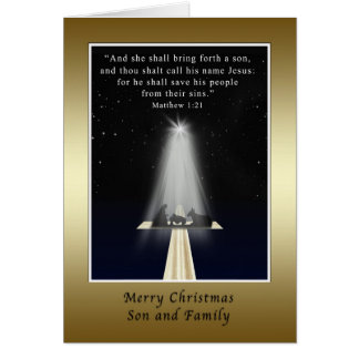 Christmas, Son and Family,  Religious Card