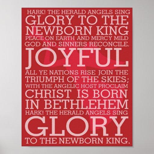 Christmas Song Lyrics Hark the Herald Angels Sing Poster | Zazzle.com