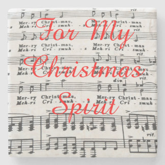 Christmas Song Sheet Music Stone Beverage Coaster