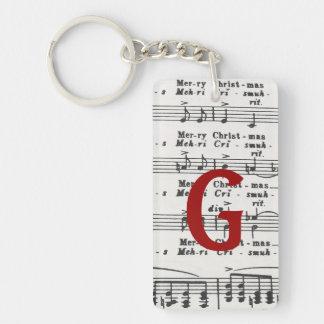 Christmas Song Sheet Music Keychain