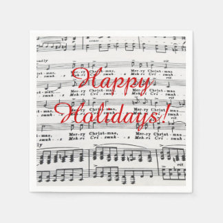 Christmas Song Sheet Music Paper Napkin