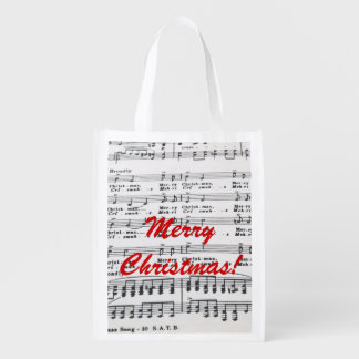 Christmas Song Sheet Music Reusable Grocery Bag