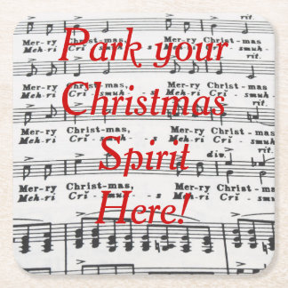 Christmas Song Sheet Music Square Paper Coaster