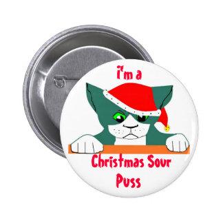 Christmas Sour Puss, Pinback Button