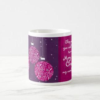 Christmas sparkle bauble pink/purple wife mug