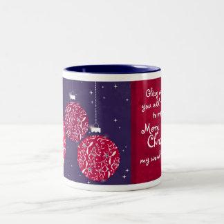 Christmas sparkle bauble red/blue wife mug