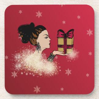 christmas sparkling fashion illustration beverage coaster