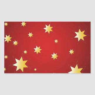 Christmas sparkling golden stars on red rectangular sticker