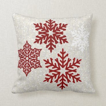 Christmas Themed Christmas Sparkling Red Snowflakes Throw Pillow
